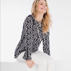 🖤CHICOS REVERSIBLE BELL SLEEVE CHEETAH SWEATER🖤